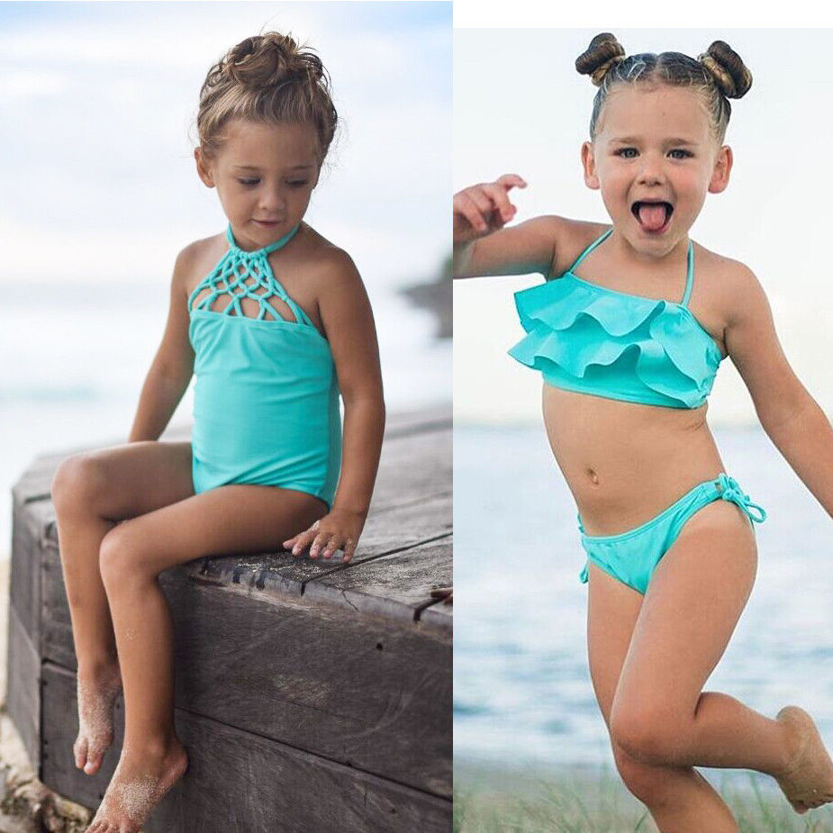 Kids Baby Girl Bikini Suit Costume Swimmable Swimwear Swimsuit Swimming Costumes Tankini Beachwear(China (Mainland))