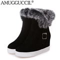 2016 New Plus Big Size 34 43 Black White Gray Buckle Fashion Warm Rabbit Fur Autumn