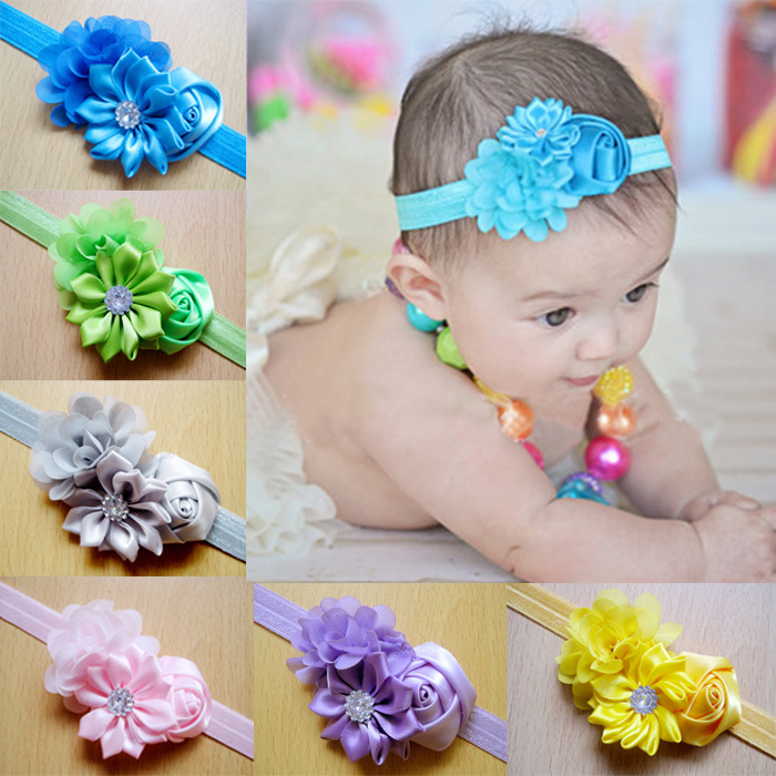 2015 baby newborn headband flower baby lace rhinestone headbands for flower hairband girls hair accessories(China (Mainland))