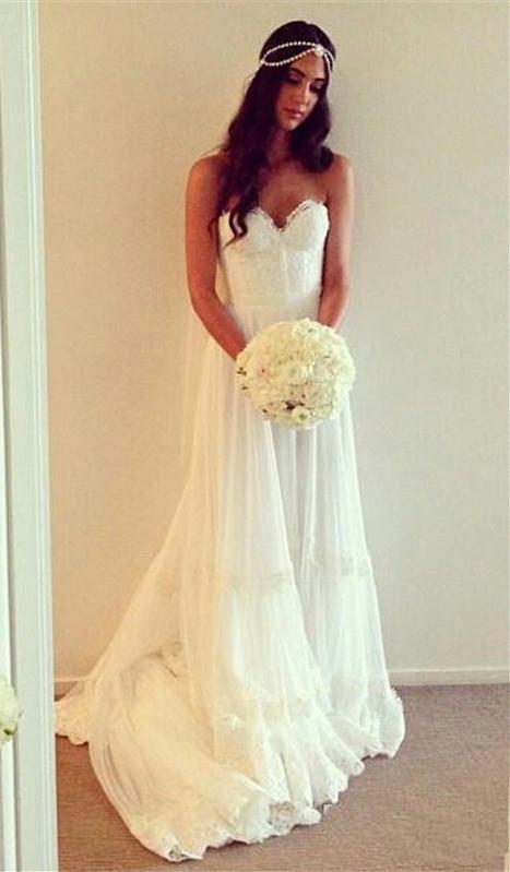 Hippie wedding dresses bohemian style sweetheart chiffon for Hippie dresses for weddings