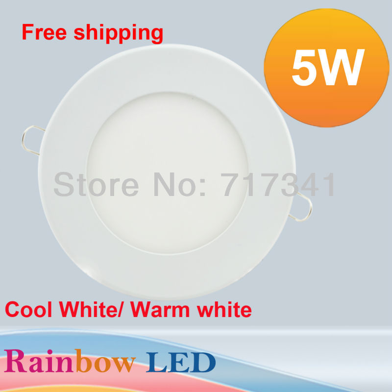 5pcs/Lot 5W Ultra thin LED Panel Light 500LM Round SMD2835 LED Ceiling Wall Light Lamp Recessed Down light Pure White led bulb<br><br>Aliexpress