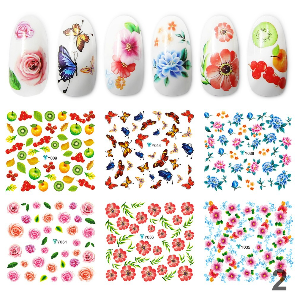 Special offer Big Promotion Nail Art Fashion Water Stickers for Nails 12pcs/lot Different Design DIY Nail Art Tool Freeshipping(China (Mainland))