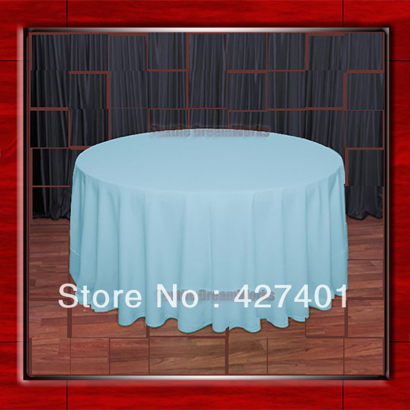 "Hot Sale 108""Rround Aqua 210GSM Polyester plain Table Cloth For Wedding Events & Party Decoration(China (Mainland))"