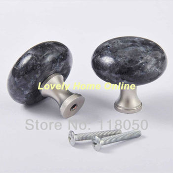 40mm Blue Pearl Granite Brass Base Cabinet Knob Drawer Knobs Dresser Handles for Luxury and Boutique Furniture,Hot Sale Hardware