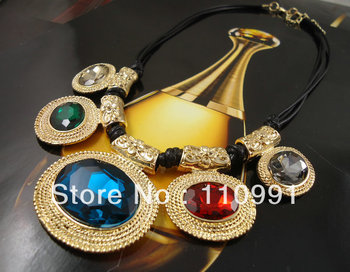 2013 New Arrival Unique New Design Gold Plated Crystal Multicolor Collar Choker Bib Statement Necklaces For Women