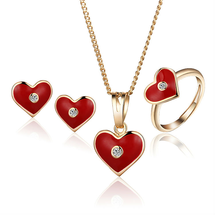New 2016 Children Jewelry Sets Baby Costume Heart Ring Earrings Pendant Necklace For Kid 18K Gold Plated 7S18K-57(China (Mainland))