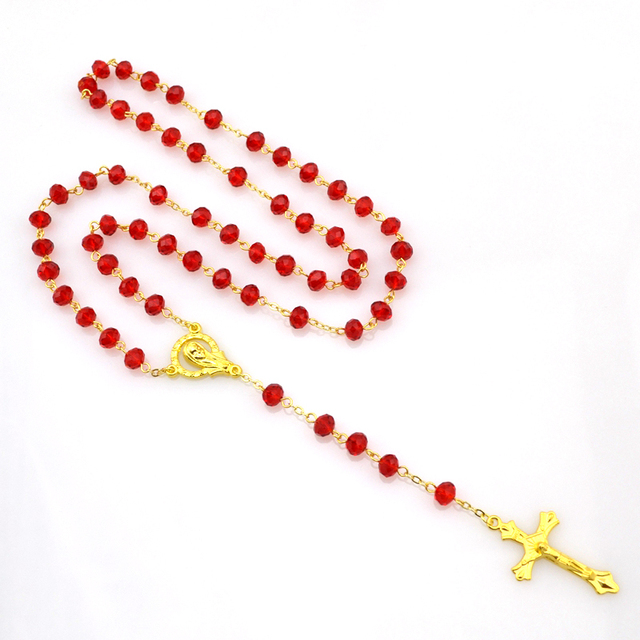 Новое Прибытие 18 К Позолоченный Кристалл Мадонна красный 6 мм * 8 мм Бусины Rosarios ...