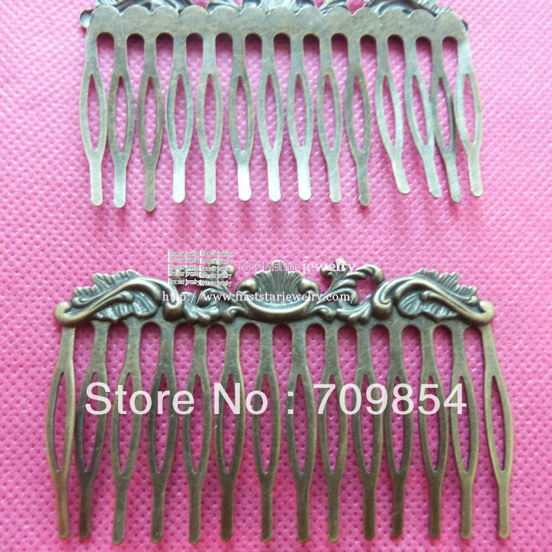 75*11mm Filigree Hair Combs Bronze plated bobby pin accessories(China (Mainland))