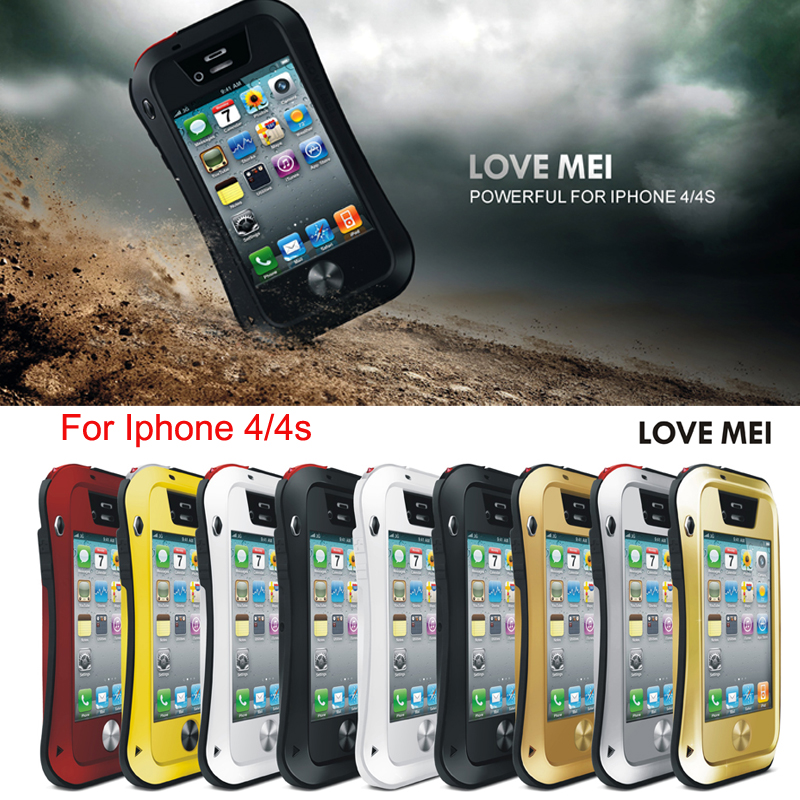 Powerful Design Outdoor Artifact Three Proofing Shock Dirt Water Proof Aluminum Metal Case for iPhone 4 4S Small Waist Type(China (Mainland))