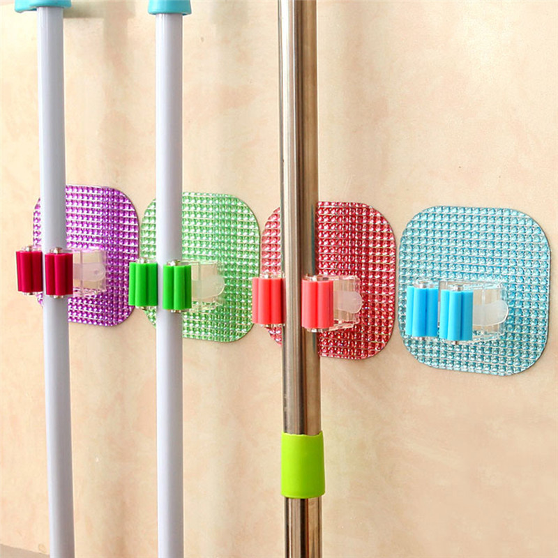 1Pcs Kitchen Wall Mounted Mop Rack Bathroom Storage Durable Mop Broom Holder 6 Colors(China (Mainland))