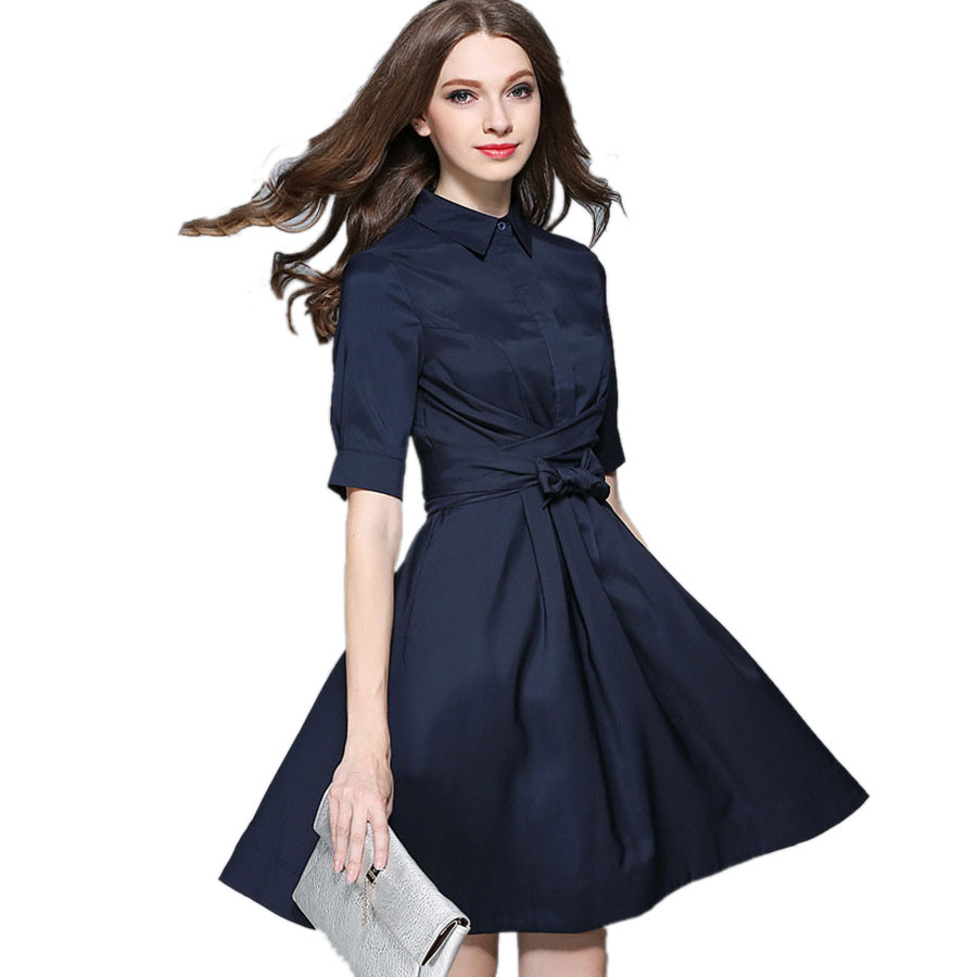2016 New Fashion European Style Autumn Shirt Dress Women Half Sleeve Elegant A Line Dresses With
