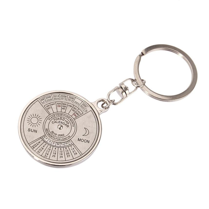 Outdoor Multi Tools 50 years perpetual Calendar Keyring Unique Compass Metal KeyChain Gift#YL(China (Mainland))
