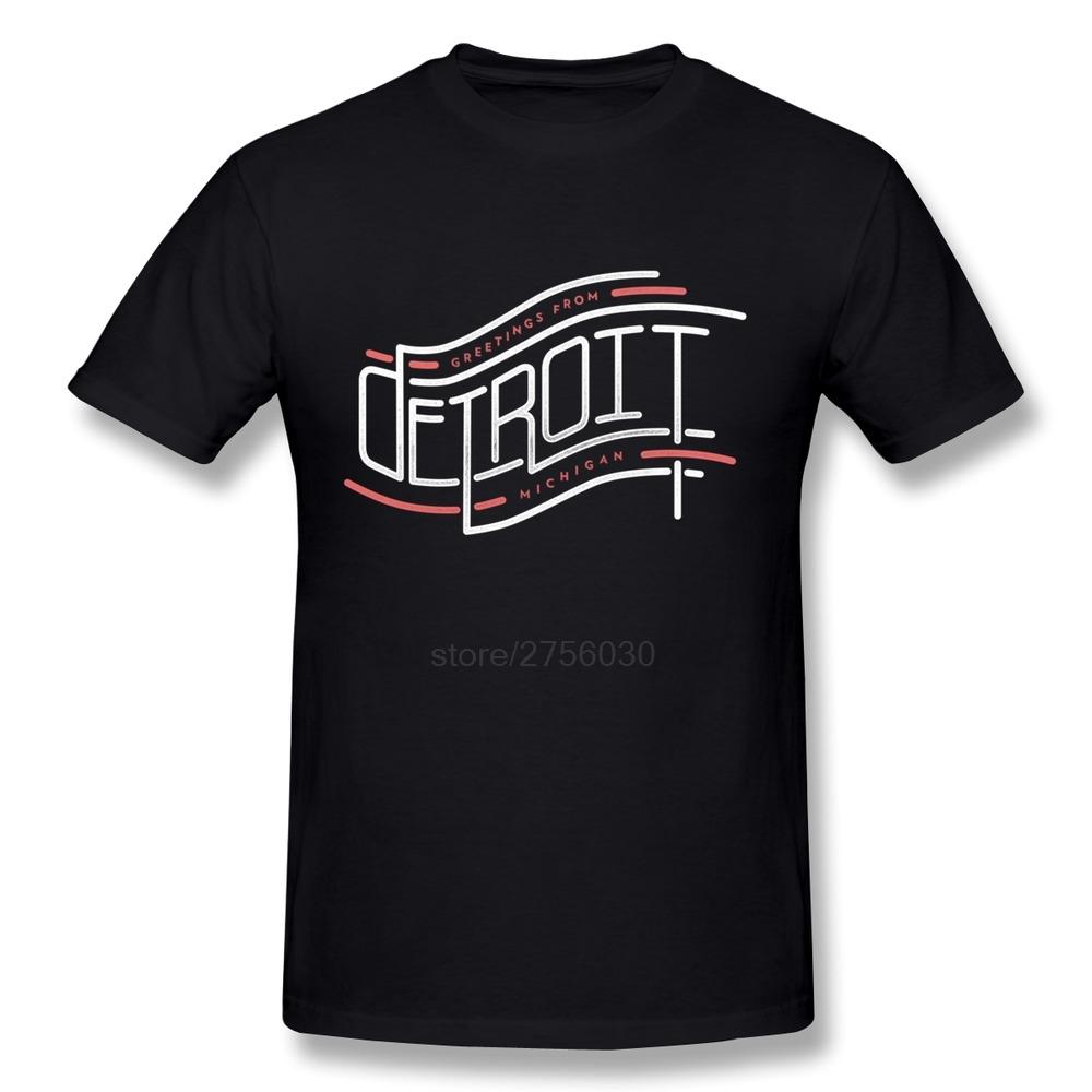 High Quality Short Sleeve Detroit, Mhigan men t shirt Cheap Sale 100 % Cotton tee shirts for Boys(China (Mainland))
