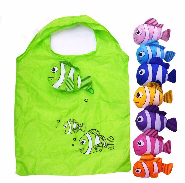 Mic New 10 Colors Tropical Fish Foldable Eco Reusable Shopping Bags 38cm x58cm GB021(China (Mainland))
