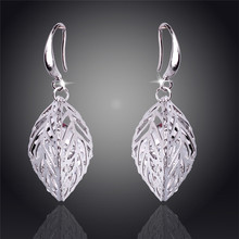 2014 New Products Hot Sale Hollow Solid Leaf 18K Silver Plated Drop Earrings For Women Fashion Jewelry Free Shipping Wholesale(China (Mainland))