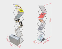 Aluminum Folding Brochures Pamphlets Books Literatures Display Holders Rack Stand By 6 Faces To Show 1pc Quality Guaranteed(China (Mainland))