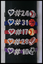 Personalized Jersey Number Bling Sports Bracelet with Heart and Rhinestone Sports Charms ,Free Shipping! Y-0399(China (Mainland))