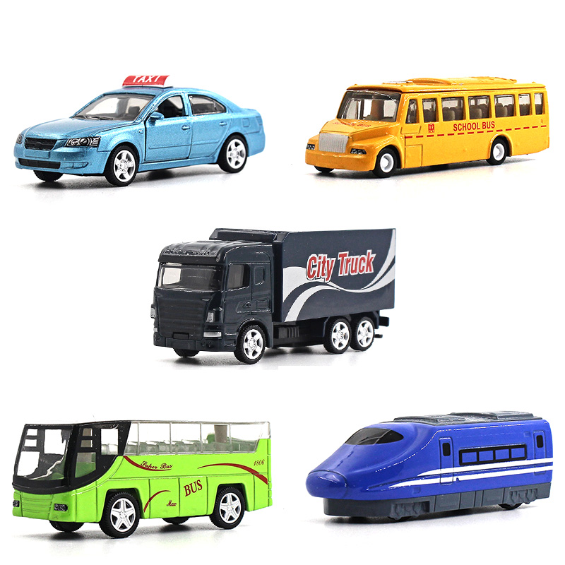 1:64 alloy car model children's toys 5pcs City car series Taxi school bus subway Bus city truck Children like the gift(China (Mainland))