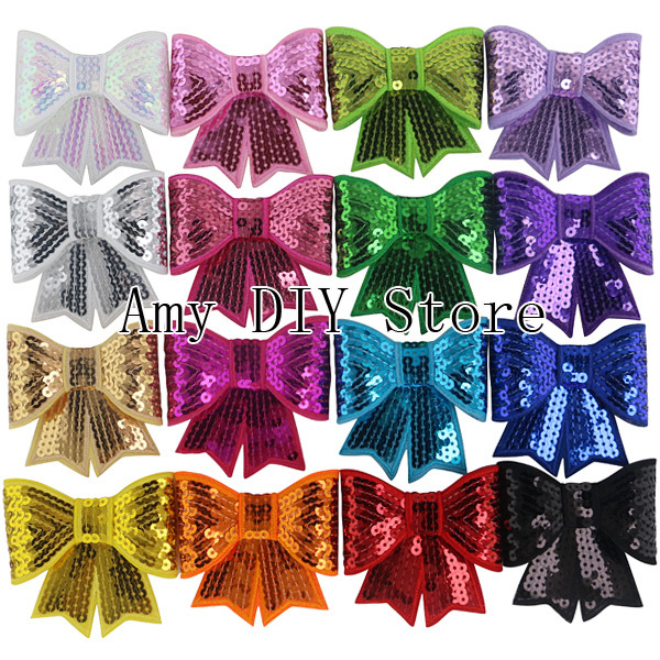Free Shipping!45pcs 3 Inches Big Sequin Bow Knot Applique,3'' Large Embroideried Sequin Bows Applique,Hair Bows Hair Accessories(China (Mainland))