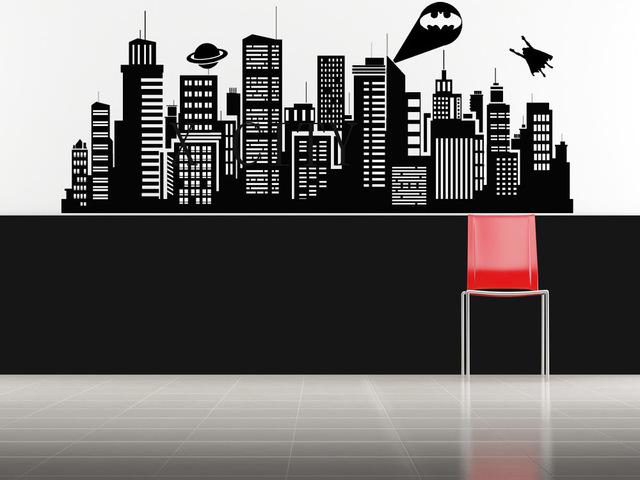 gotham city skyline stencil york murs promotion achetez des york