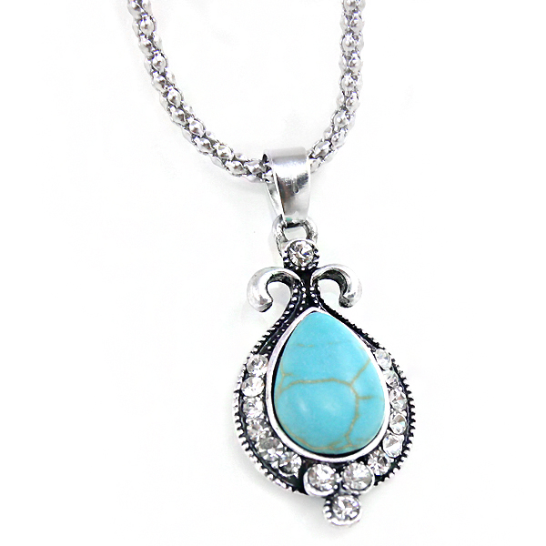 Vintage turquoise blue green necklaces & pendants with stones silver necklace women turquoise jewelry nkek50(China (Mainland))