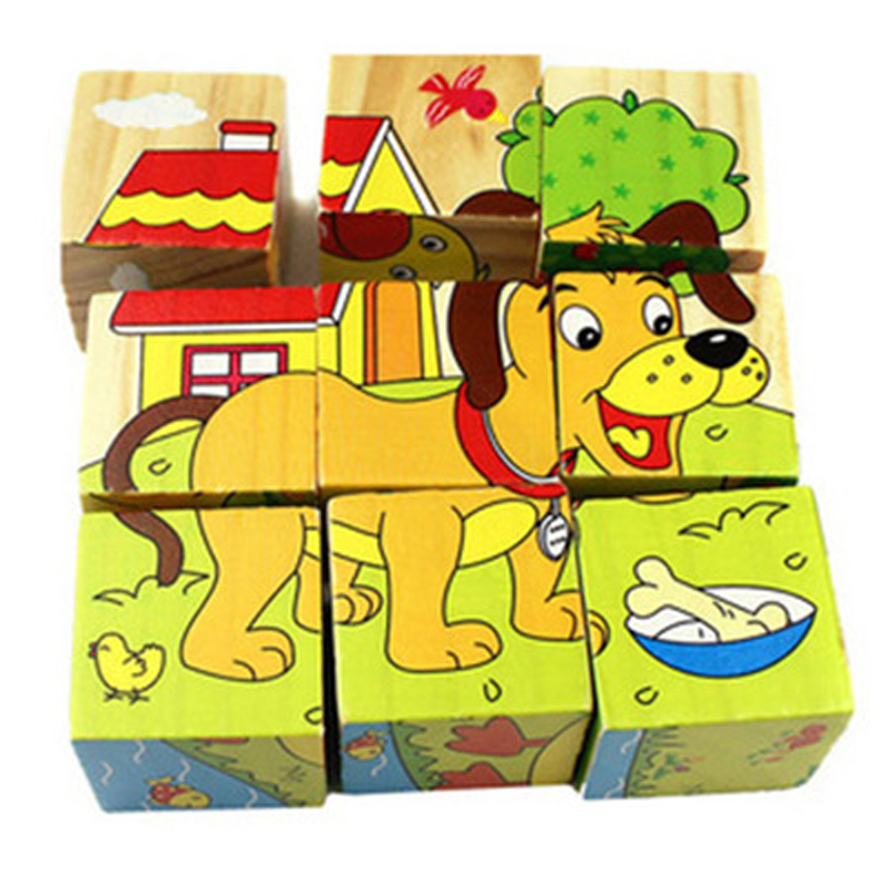 9 Pcs/set 6 Sides 3D Animal Puzzle Wooden Jigsaw Forest Animal Traffic Ocean Wisdom Early Educational Toys For Children(China (Mainland))