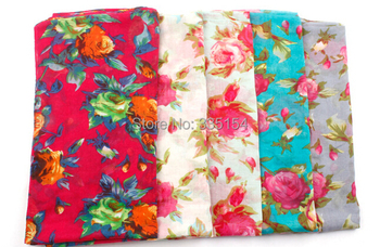 2014 Newest Mint Green Floral Rose Scarf High Quality Cotton Shawl Wraps Hijabs 5colors 10PCS/lot FREE SHIPPING