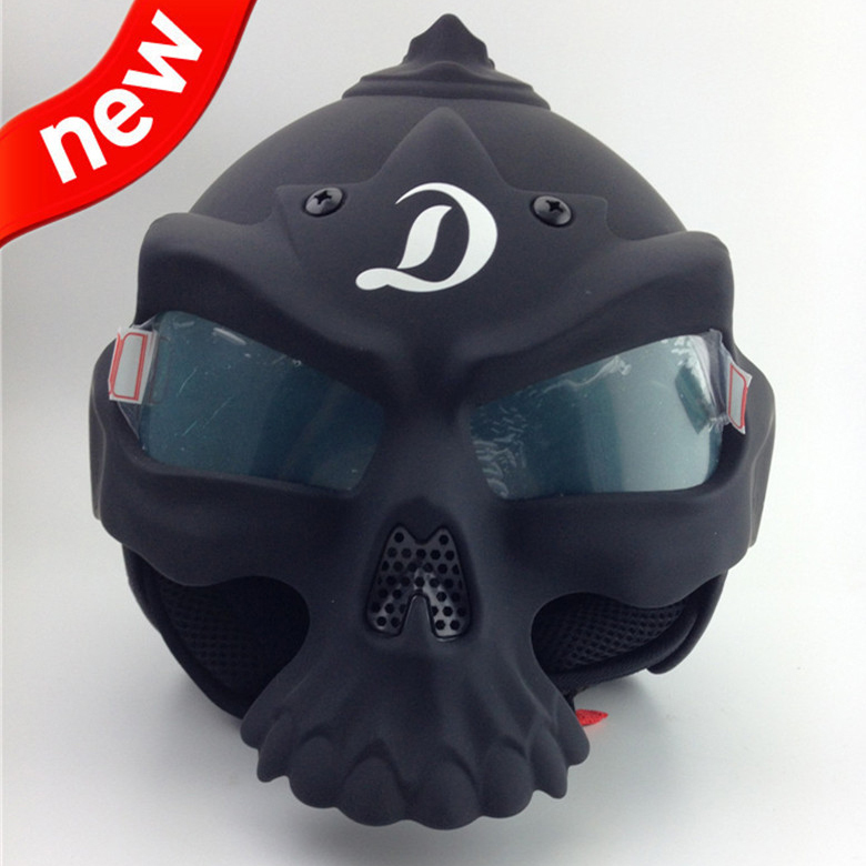 New Motorcycle skull helmet/Halley Horrible Fashionable Retro Vintage Safety Popular Cool Skeleton Helmet black/white(China (Mainland))