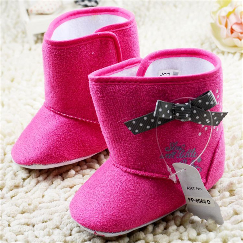 Infant Boots Solid Pink Flock With White Dot Black Bowtie Soft Sole Baby Shoes Winter Minifeet Shoes First Walker Baby Boots(China (Mainland))
