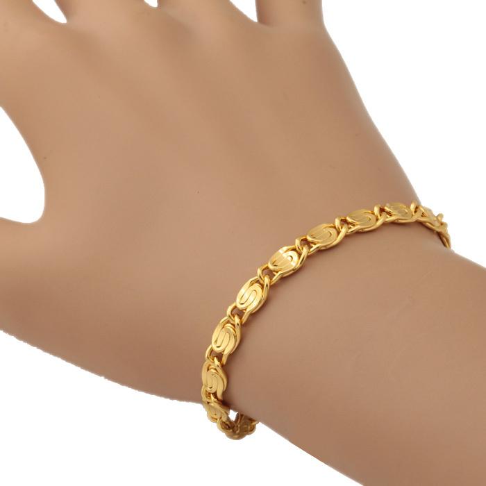 18K Gold Plated Bracelet Men With 18K Stamp Free Shipping Fashion Jewelry Vintage Bangle Bracelets 6MM 21CM 8'' Men Jewelry H229(China (Mainland))