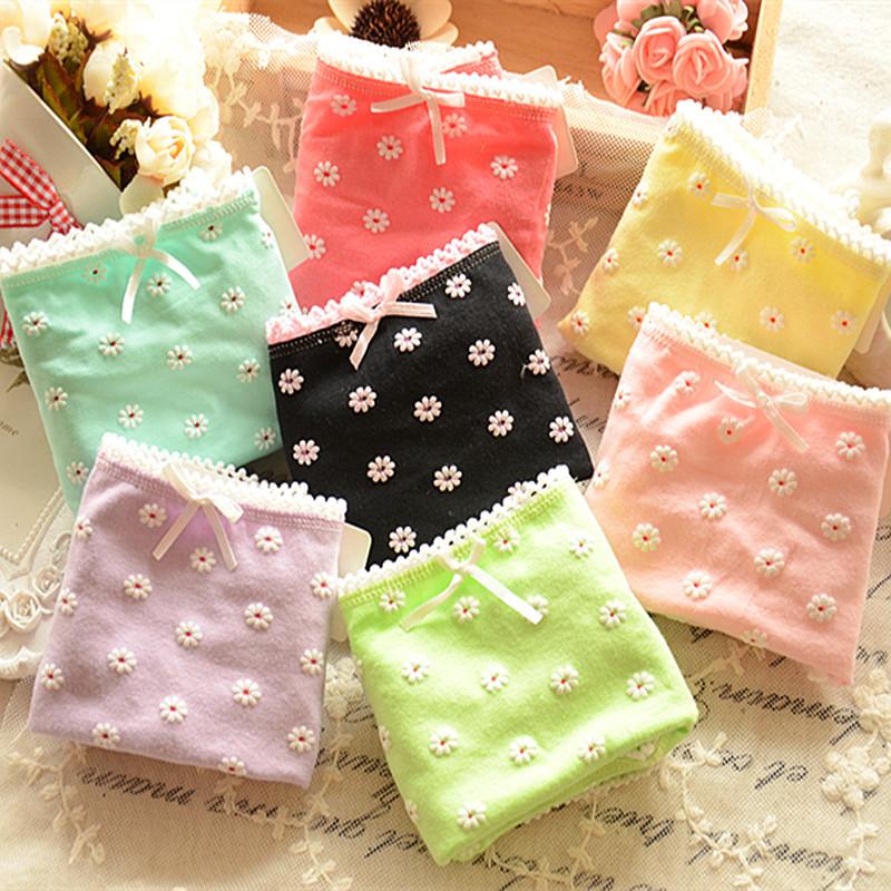 Гаджет  010 Ladies Cotton Underwear Cute Japanese Daisy cotton briefs underwear wholesale gift box explosion None Одежда и аксессуары