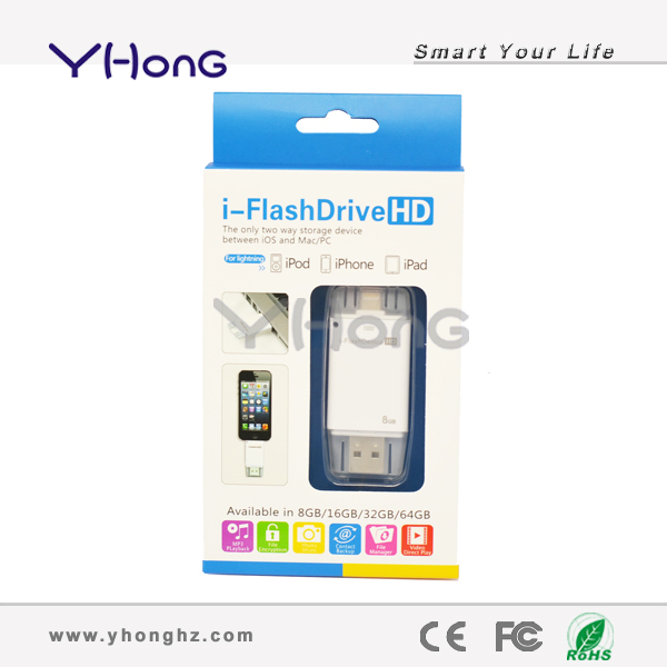 Unique 8GB 2 in 1 Lightning USB/ USB Flash Drive for Mobile Phone, Cell Phone USB Pendrive Pen Drive Free Shipping YHUS-M053(China (Mainland))