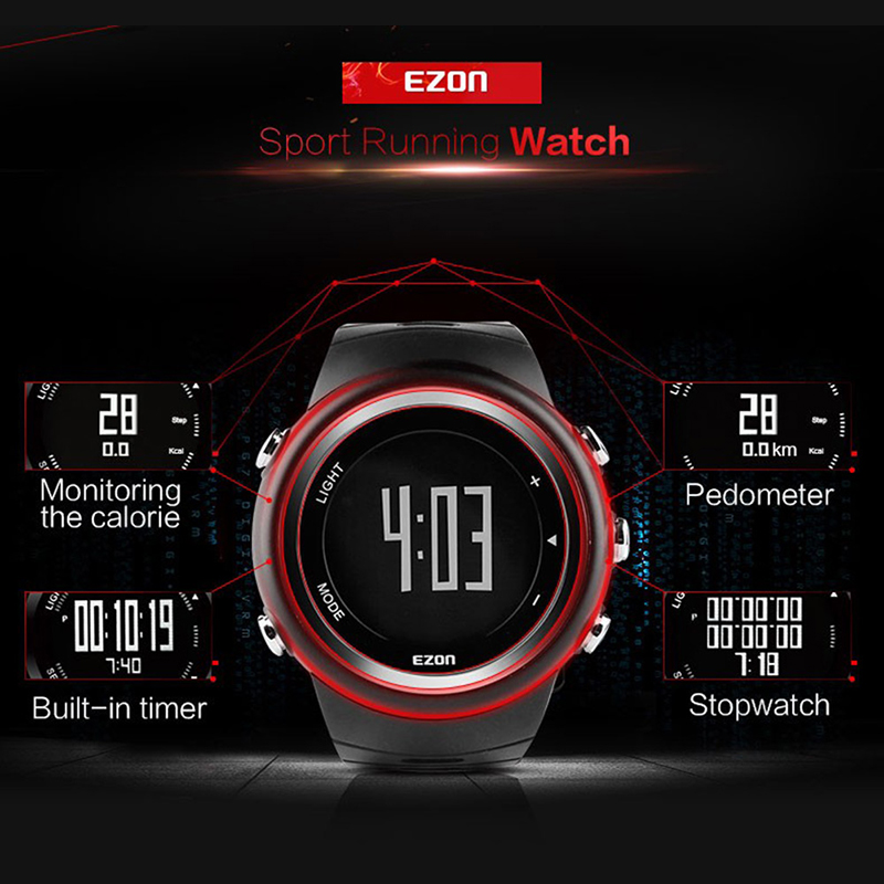 Smart Waht EZON T023 Men Running Sports Digital Watch Pedometer Calorie Monitor 50M Water Resistant