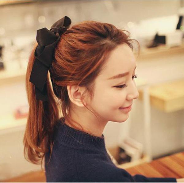 1 PCS Cute Women Multicolor Satin Ribbon Bowknot Hairband Rope Scrunchie Ponytail Holder Hair Band Accessories para el pelo(China (Mainland))