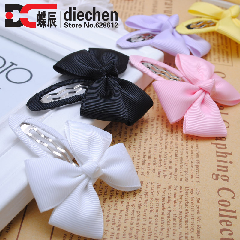 2pcs/lot solid grosgrain bows toddler baby girls hair snap clips hairpins children accessories assorted colors free shipping(China (Mainland))