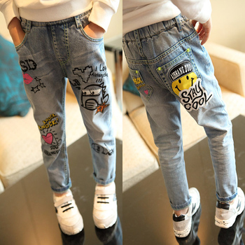 Girls Jeans 2015 Autumn/Winter New Brand Desinger Children Joker Cartoon Graffiti Washed Jeans Loose Girl Pants Denim Trousers