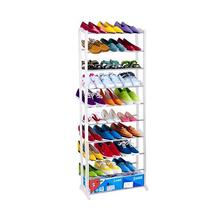 2016 New Standing 10 Tier Shoe Shelf Rack Organizer Space Saving Shoe Rack White Shoes Organizer(China (Mainland))