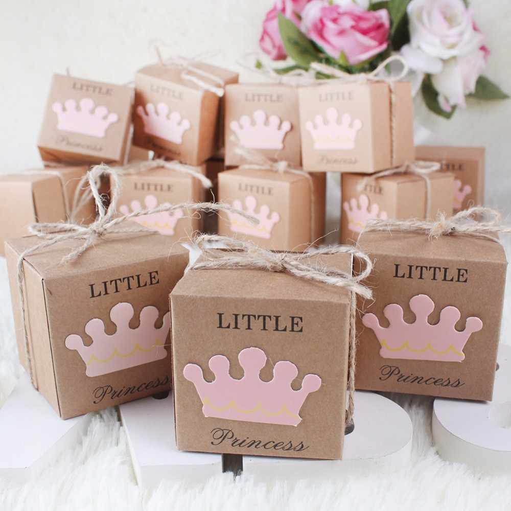 10Pcs Kraft Paper Gift Box Candy Boxes Baby Shower Decorations Wedding Favors and Gifts Box for Guests 2*2*2inch Party Supplies(China (Mainland))