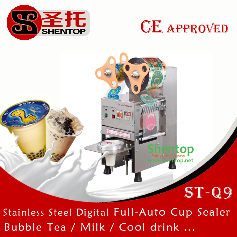 shentop Stainless Steel full automatic cup sealer machine ST-Q9 bubble tea machine plastic cup sealing machine(China (Mainland))