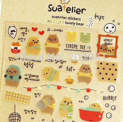 Japan style Cute Bear Series PVC sticker/DIY Multifunction lable/ office and school supplier no.1037(China (Mainland))