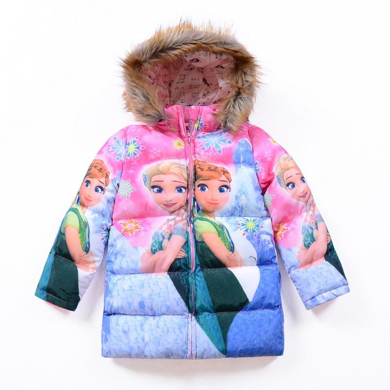 Chidlren girl's 2016 Winter thicker long sleeve ELSA Anna girl Parkas Fur collar coat 2color