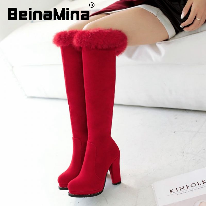 women over knee boots high heel botas riding platform fashion long boot fur warm winter quality footwear shoes P22166 size 33-43