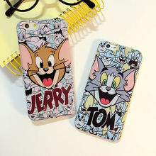 Hot sale!Fun Cat and Mouse Soft TPU Phone Back Cover Phone Case For Iphone 6 4.7inch Mobile Phone Cases