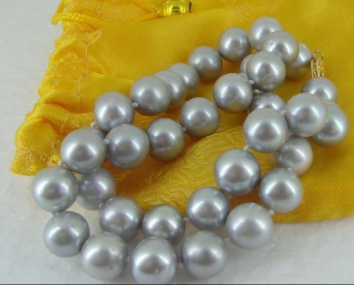 """HUGE 18"""" 10-11MM AUSTRALIAN SOUTH SEA SILVER GREY PEARL NECKLACE 14K(China (Mainland))"""