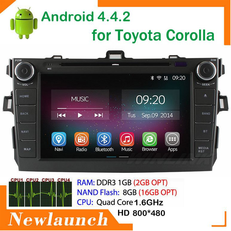 """Car DVD Player Built-in WiFi bluetooth 8"""" LCD 1GB DDR3 RAM 8GB ROM 2 Din Android 4.4.2 For Toyota Corolla 2006-2011 support GPS(China (Mainland))"""