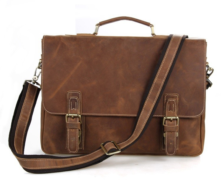 J.M.D Retro Antique Style Mens Crazy Horse Leather Messenger Shoulder Bags Briefcases Bags Laptop Bag Hand bags 7229