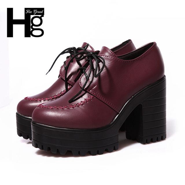 2015 весна осень урожай женщины сапоги платформы квадратных пятки мода кружева-up лодыжки твердые женская обувь XWX213