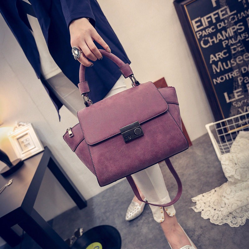 Nubuck Leather Women Retro Hand Bag Trendy Fashion Ladies Succinct Plain Handbag Ladies Designer PU Leather Crossbody Bag