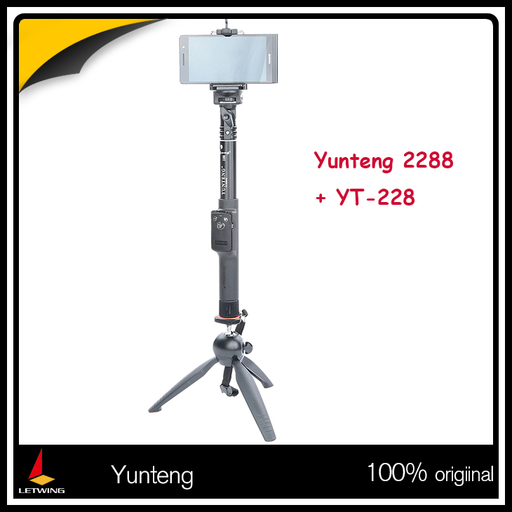Yunteng 2288 Bluetooth Remote Selfie Stick Extendable Monopod + YT-228 Mini Tripod for Phone Camera(China (Mainland))