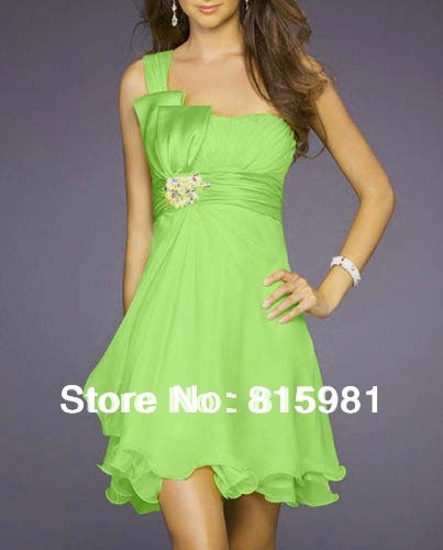 Black bridesmaid dresses with lime green sash : Lime green chiffon a line knee length partydress bridal
